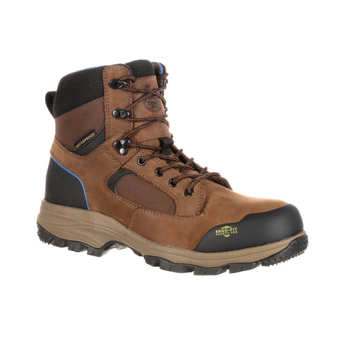 Georgia Mens Dark Brown Leather WP CT Hiker Work Boots