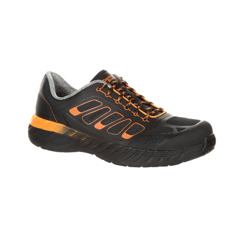 Georgia Mens Black Orange Mesh AT Athletic Work Oxford
