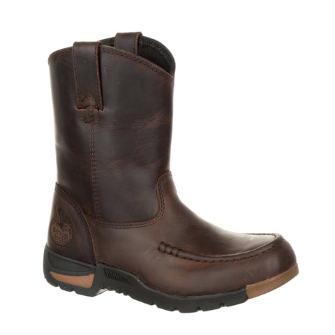 Georgia Kids Brown Leather Athens PullOn Work Boots