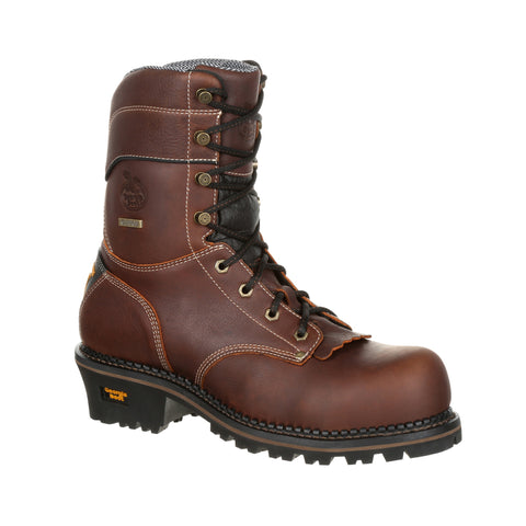 Georgia Mens Brown Leather SPR WP AMP Logger Boots