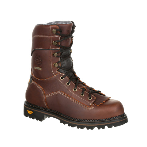 Georgia Mens Brown Leather SPR WP AMP Low Logger Boots