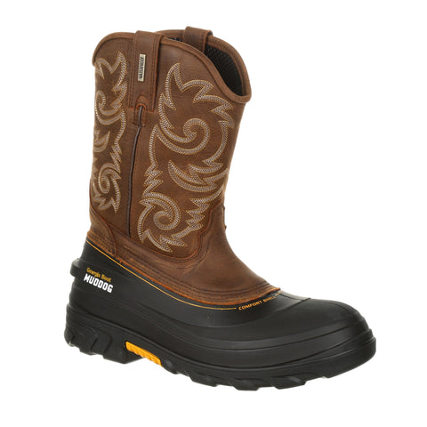 Georgia Mens Red Brown Leather Muddog WP SPR Work Boots