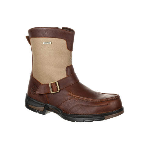 Georgia Mens Brown Leather Athens WP Zip Ankle Boots