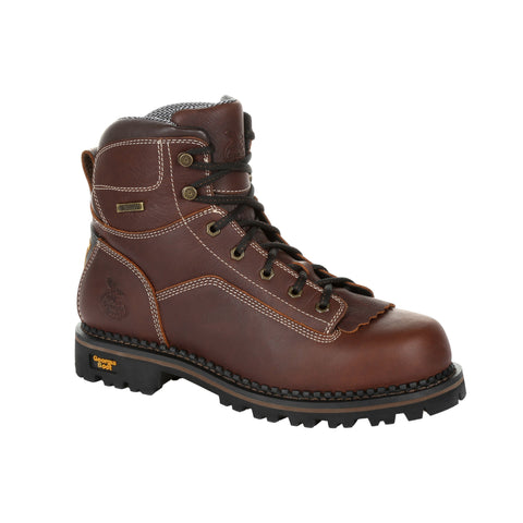 Georgia Mens Brown Leather Low Heel Logger Work Boots