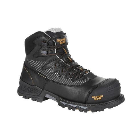 Georgia Mens Black Leather Rumbler CT WP Work Boots
