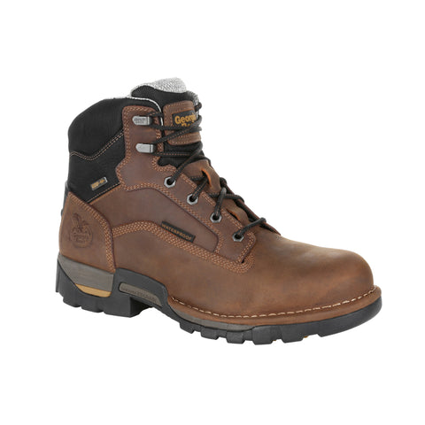 Georgia Mens Brown Leather Eagle One WP Work Boots