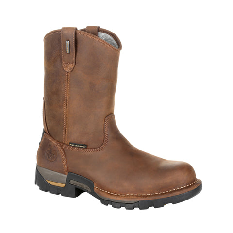 Georgia Mens Brown Leather Eagle One Pull-On Work Boots