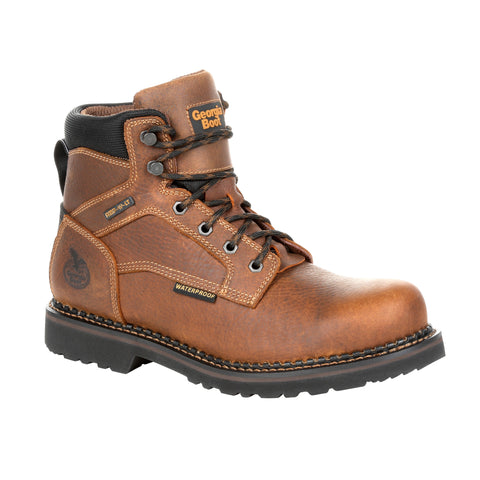 Georgia Mens Brown Leather Revamp WP ST Work Boots