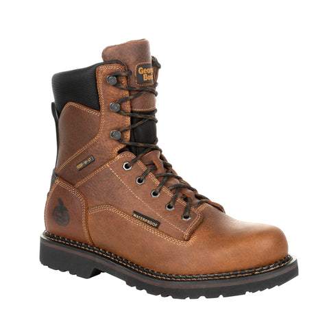 Georgia Mens Brown Leather Revamp WP 8in Work Boots