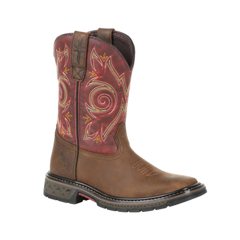 Georgia Kids Red/Brown Leather Carbo-Tec LT Pull-On Cowboy Boots