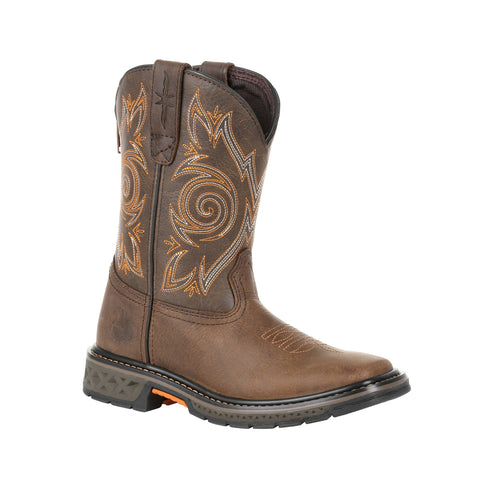 Georgia Kids Brown Leather Carbo-Tec LT Pull-On Cowboy Boots