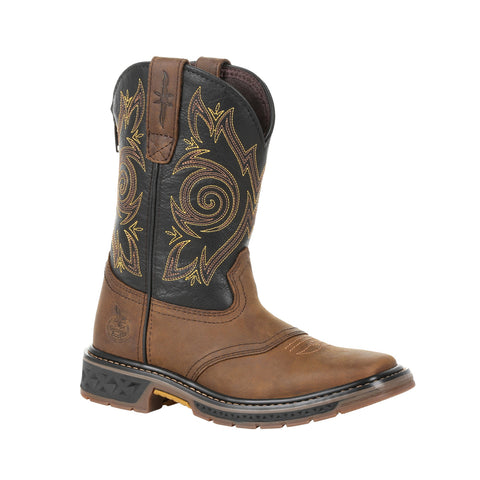 Georgia Kids Brown/Black Leather Carbo-Tec LT Saddle Cowboy Boots