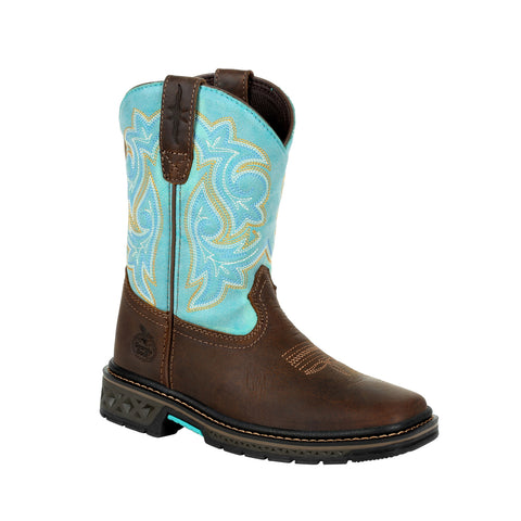 Georgia Kids Brown/Turquoise Leather Carbo-Tec LT Saddle Cowboy Boots