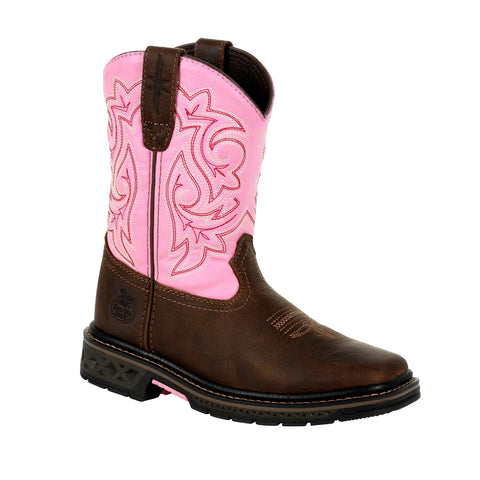 Georgia Kids Girls Brown/Pink Leather Carbo-Tec LT Saddle Cowboy Boots