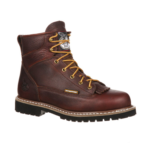 Georgia Mens Chocolate Leather Steel Toe Waterproof Logger Work Boots