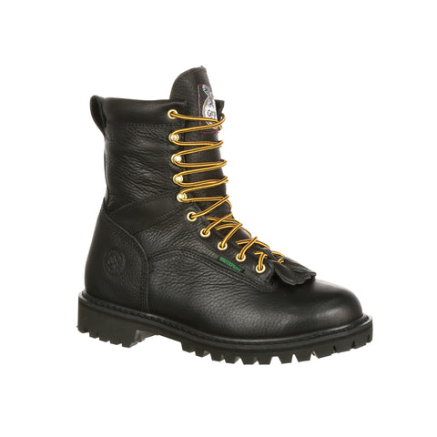 Georgia Mens Black Leather Steel Toe Waterproof Lace-to-Toe Work Boots