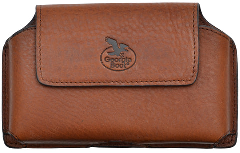 Georgia Brown Leather Unisex Smartphone Holder Pebble Grain
