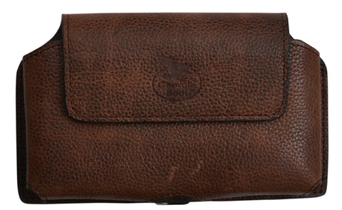Georgia Dark Brown Leather Unisex Smartphone Holder Pebble Grain