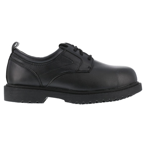 Grabbers Mens Black Faux Leather SR Casual Oxford Citation Steel Toe