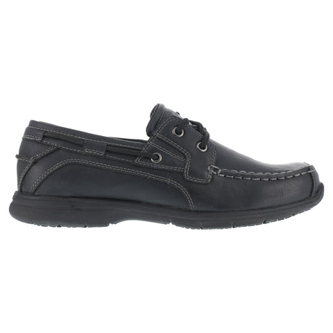 Grabber Mens Black Faux Leather Boat Shoes Runabout Soft Toe