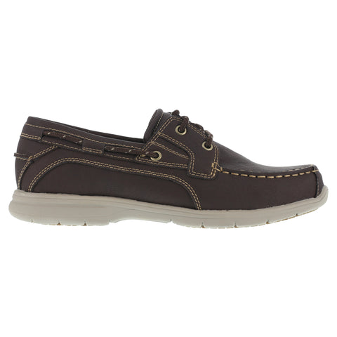 Grabber Mens Brown Faux Leather Boat Shoes Runabout Soft Toe