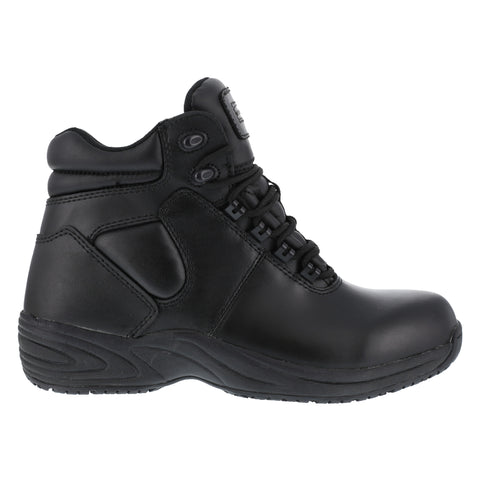 Grabbers Mens Black Leather 6in SR Sport Boots Fastener Soft Toe