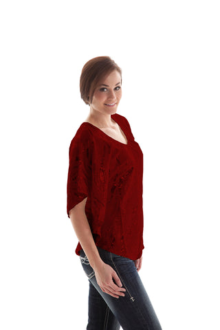 Cowgirl Tuff Womens Red Rayon Spandex Blouse Striped Sequins S/S