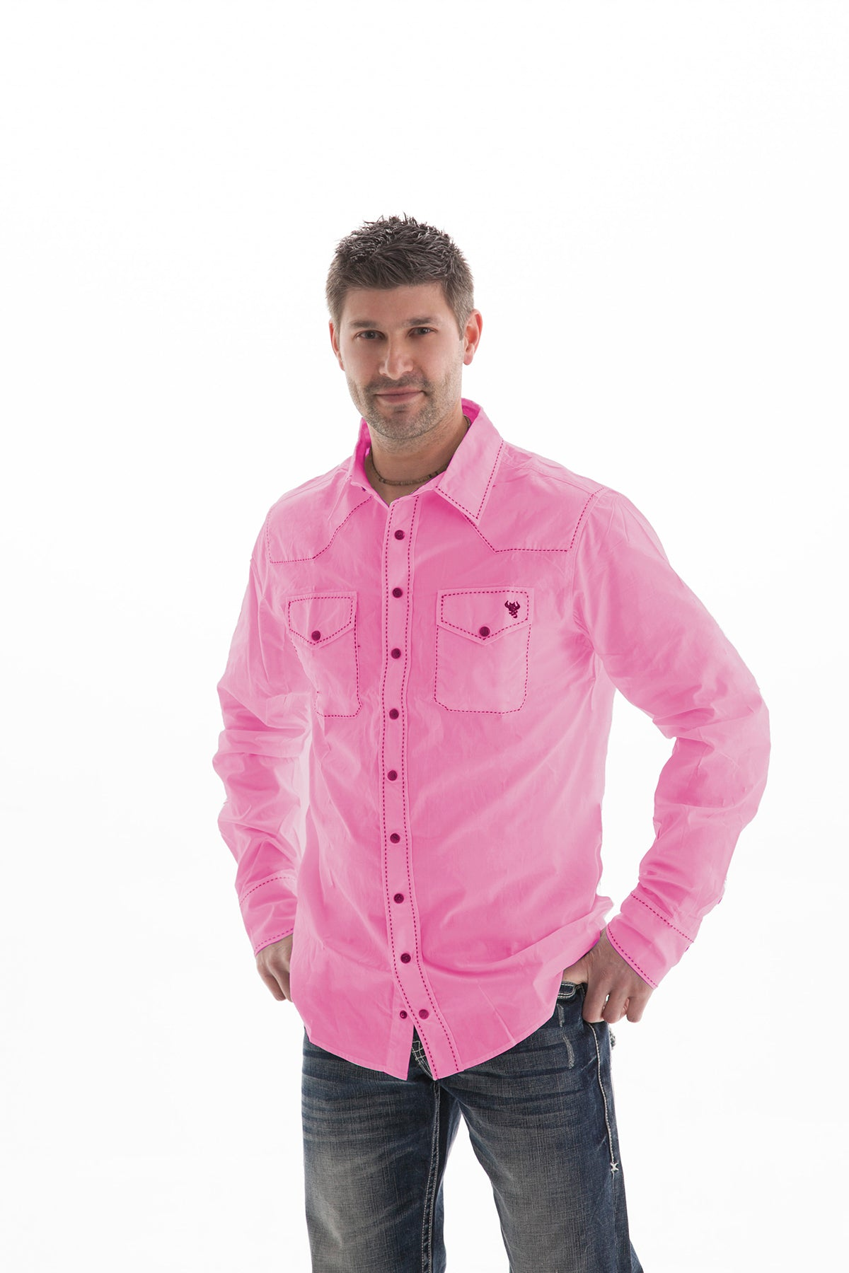 B tuff mens pink cotton blend western shirt button up l s for Baby pink shirt for man