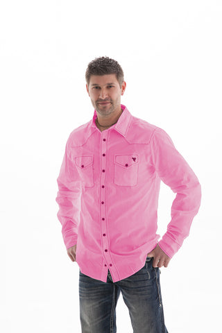 B Tuff Mens Pink Cotton Blend Western Shirt Button Up L/S