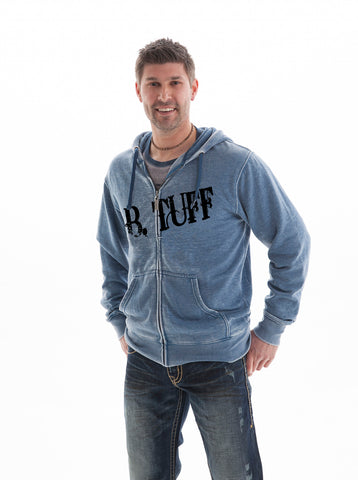 B Tuff Mens Blue Cotton Blend Hoodie Burnout Fleece Logo