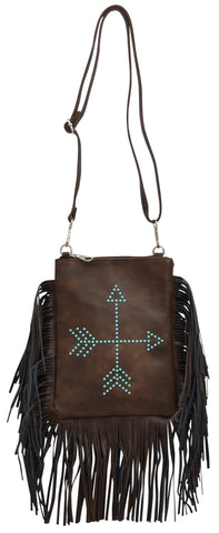 Angel Ranch Brown Faux Leather Womens Purse Turquoise Stud Arrow