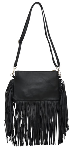 Angel Ranch Black Faux Leather Womens Purse Fringe