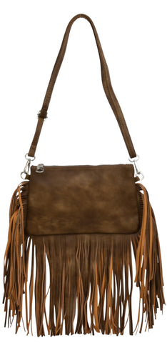 Angel Ranch Brown Faux Leather Womens Purse Fringe
