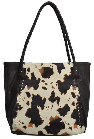 Angel Ranch Brown Faux Leather Womens Purse Cow Print Studs