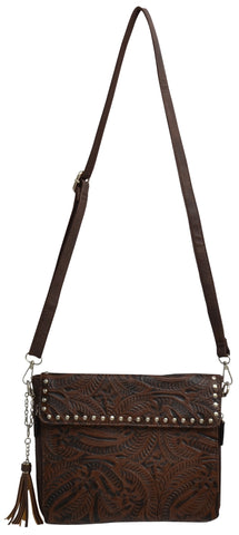 Angel Ranch Brown Distressed Faux Leather Womens Purse Crossbody Stud