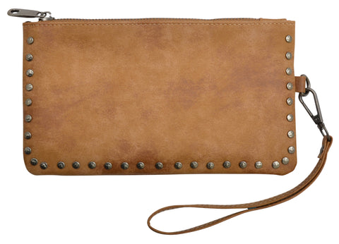 Angel Ranch Tan Faux Leather Womens Wristlet Distressed