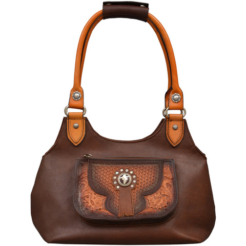 Angel Ranch Brown Leather Purse Natural Tooled Cowgirl Conchos