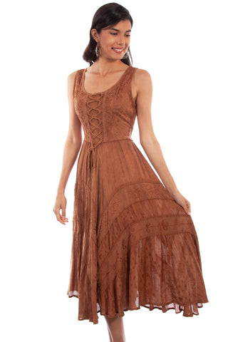 Scully Honey Creek Womens Full Length Dress Beige 100% Rayon Lace Up