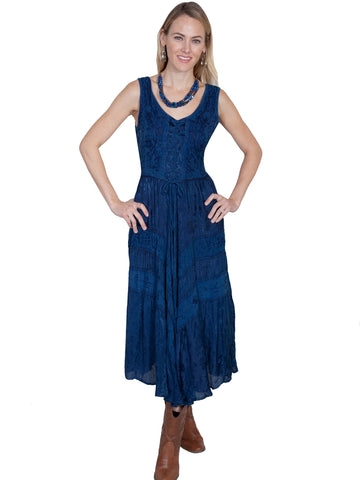 Scully Honey Creek Womens Full Length Dress Blue 100% Rayon Lace Up