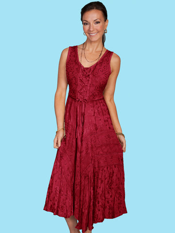 Scully Honey Creek Womens Burgundy Rayon Lace Up Peasant Tiered Dress S