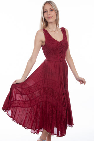 Scully Honey Creek Womens Burgundy Rayon Lace Up Peasant Tiered Dress