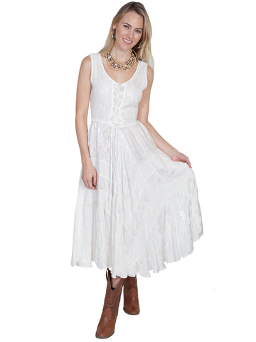 Scully Honey Creek Womens Full Length Dress Ivory 100% Rayon Lace Up