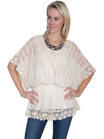 Scully Honey Creek Womens Natural 100% Cotton Keyhole 3/4S Blouse