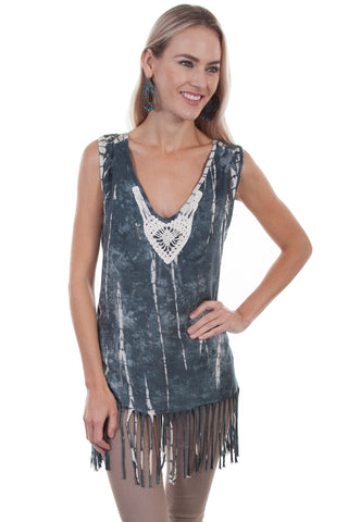 Scully Womens Grey Viscose Tie-Dye Tank Top