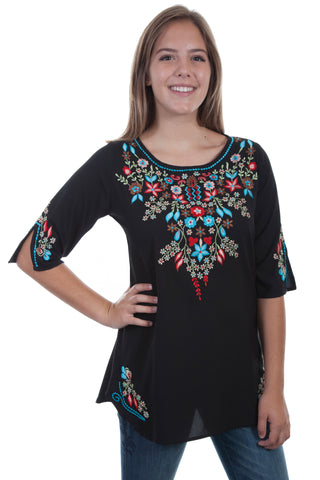 Scully Womens Black Multi 100% Viscose Embroidered Pullover S/S Tunic