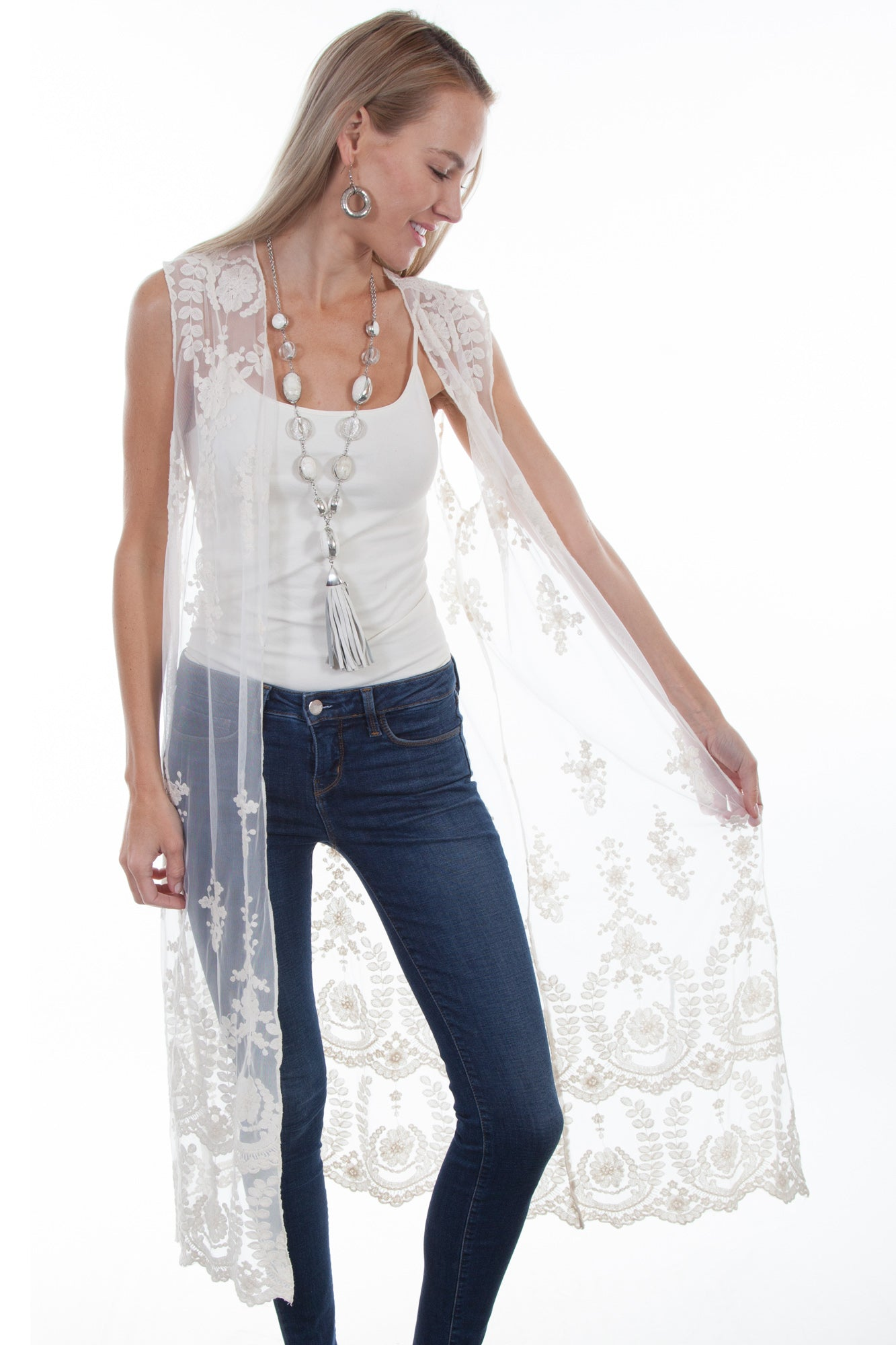 a4a7a138 Scully Womens Ivory 100% Nylon Lace Duster Vest – The Western Company
