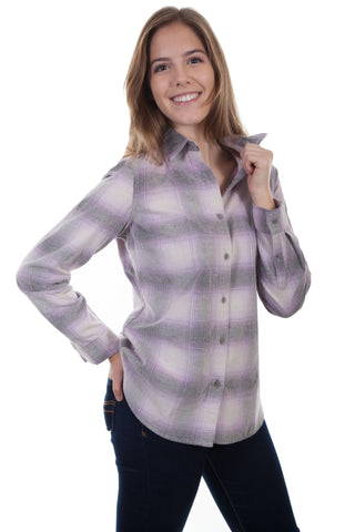 Scully Womens Purple/Cream 100% Cotton Plaid L/S Shirt