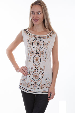 Scully Womens Ivory 100% Viscose Floral Geometric Tank Top