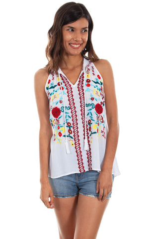 Scully Womens White Multi 100% Viscose Rick Rack Tank Top