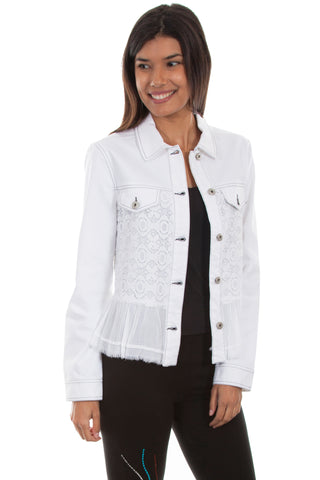 Scully Womens White Cotton Blend Contemporary Jacket